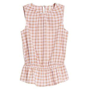 Treasure & Bond Pink Brown Check Peplum Top XS
